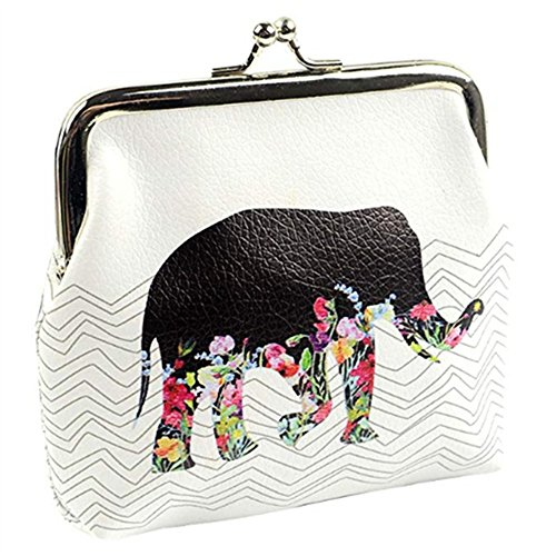 Women Teen Girls Cute Elephant Print Buckle Coin Purse Fashion Small Wallet Bag Change Pouch