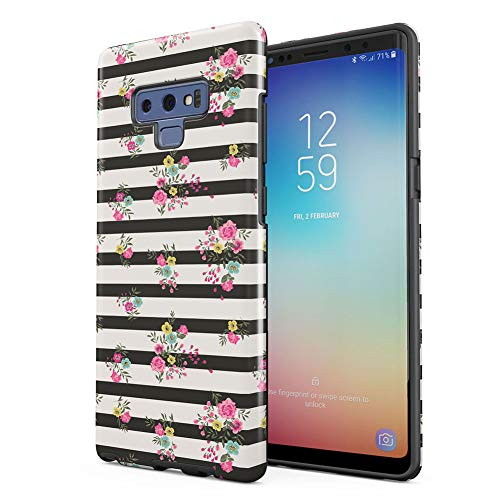 Vintage Flowers Lines Pattern Tumblr Samsung Galaxy Note 9 Silicone Inner/Outer Hard PC Shell Hybrid Armor Protective Case Cover