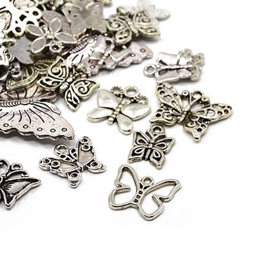 30g x Tibetan Silver Mixed Charms Pendants - Antique Silver BUTTERFLIES HA06700 Something Crafty Ltd