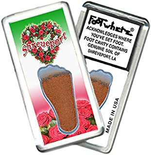"""product image for Shreveport """"FootWhere"""" Souvenir Fridge Magnet. Made in USA (SHV202 - Roseheart)"""