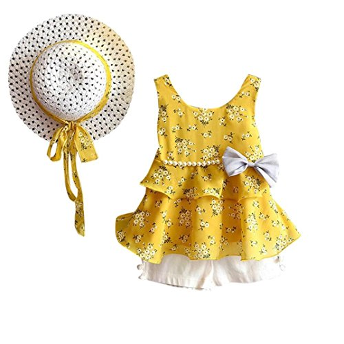 Toddler Baby Girl Ruffle Floral Chiffon Bow Vest T-Shirt Tops+Pants+Sun Hat (4T(3-4 Years), Yellow) ()
