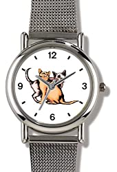 Two Cats - Best Friends - WATCHBUDDY® ELITE Chrome-Plated Metal Alloy Watch with Metal Mesh Strap - Small ( Children's Size - Boy's Size & Girl's Size )