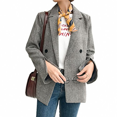 Vintage British Plaid Blazer Women Suit Jacket NEW Autumn Double Breasted Slim Casual Office Coat Female Blaser Feminino Gray - Skirt Breasted Double Suit