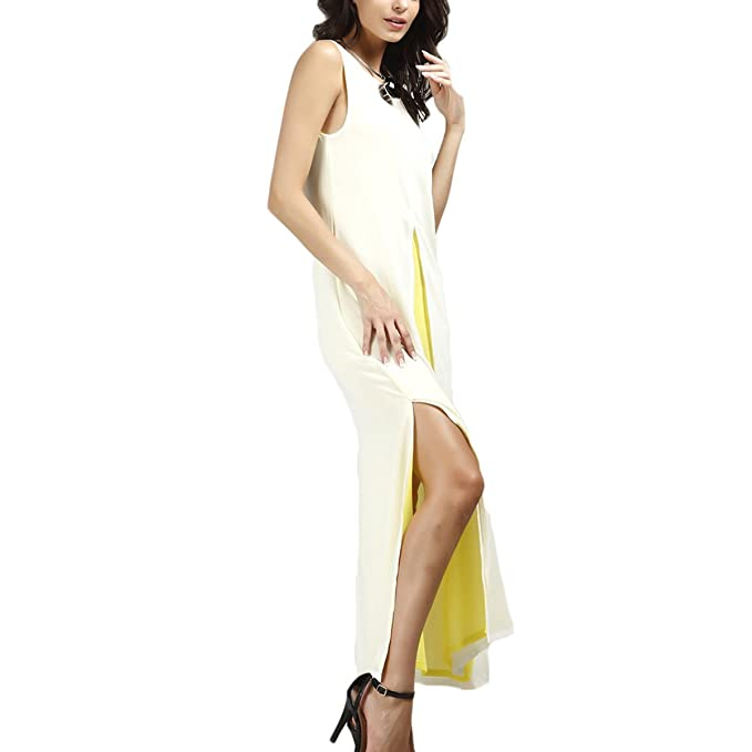 Mujeres Vestidos De Fiesta de Noche Largo Cuello Halter Elegante Plisado Gala Chiffón Verano Mujeres Moda Chiffon Dos Hendidura Vestido: Amazon.es: Ropa y ...