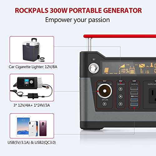 ROCKPALS 300W Portable Generator Lithium Portable Power Station, 280Wh CPAP Backup Battery Pack UPS Power Supply 110V AC Outlet, QC3.0 USB, 12V/24V DC, LED Flashlight for Camping, Home, Emergency by ROCKPALS (Image #4)