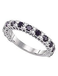 Round Black Diamond Wedding Band 10k White Gold Semi Eternity Ring Anniversary Style Polished 1.00 ctw