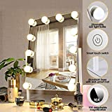 FENCHILIN Lighted Makeup Mirror Hollywood Mirror Vanity Makeup mirror with Light Smart Touch Control 3Colors Dimable Light Detachable 10X Magnification 360°rotation