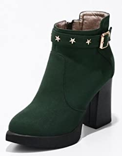Easemax Damen Modisch Nubuk High Heels Metall Quaste Kurzschaft Stiefel Mit Absatz Schwarz 41 EU KsrIUvI
