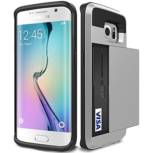 Galaxy S7 edge Case, Asstar [Stand Feature] Wallet case [Anti Scratch][Card Pocket] Dual Layer Shockproof [Soft Rubber Bumper] Hybrid Protective Card Case for Samsung Galaxy S7 edge (Silver) (Samsung Jet)