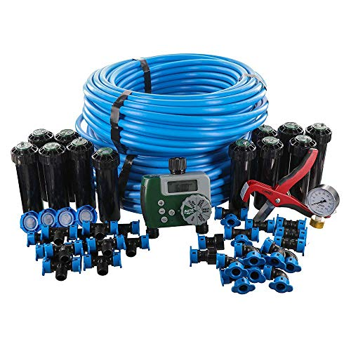 Orbit 50021 In-Ground Blu-Lock Tubing System and Digital Hose Faucet Timer, 2-Zone Sprinkler Kit, Blue, Black (Renewed)