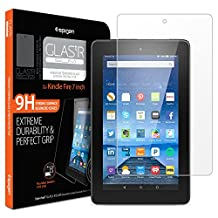 Fire tablet 7 inch Screen Protector, Spigen® [Tempered Glass] Easy-Install Wings [Lifetime Warranty] Most Durable Rounded Edge Glass Screen Protector for Kindle Fire 7 (I02GL20241)