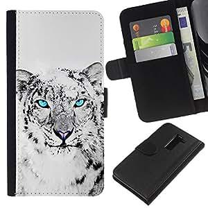 [Neutron-Star] Modelo colorido cuero de la carpeta del tirón del caso cubierta piel Holster Funda protecció Para LG G2 D800 [Cool Snow Leopard Black White Animal Cat]
