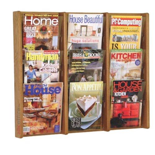 - Wooden Mallet AC26-9 Nine Pocket Wall Mounted Magazine Rack in Medium Oak