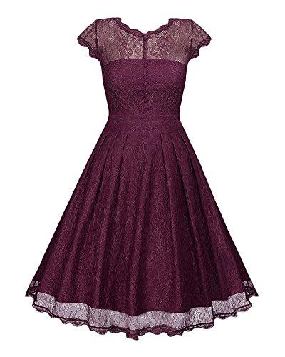 Frau Feste Farbe Hohlen Spitzenrock Kurzärmeliges Slim Big Rock Retro Hepburn Stil Kleid Burgunderrot