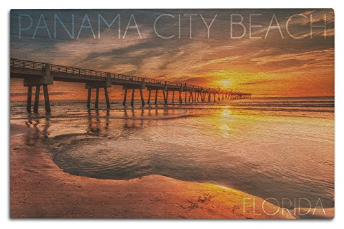 Panama City Beach, Florida - Pier and Sunset (12x18 Wood Wall Sign, Wall Decor Ready to - City In Pier Panama