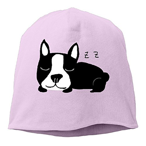 DMN Fashion Solid Color Sleeping French Bulldog Beanie Cap For Unisex Pink One -