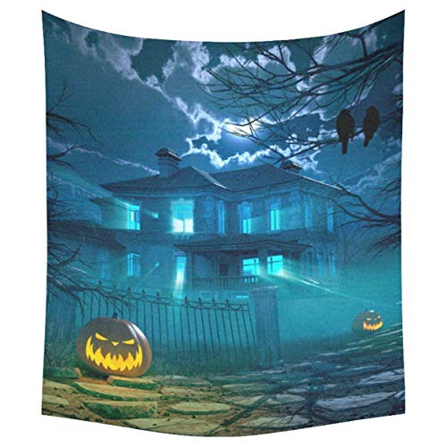 Bnialaed Halloween Home Decor Tapestries Wall Art Haunted House Pumpkin Tapestry Wall Hanging Art Sets 51 X 60 in Unique Wall Tapestry for Living Room -