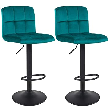 Miraculous Duhome Bar Stools Set Of 2 Cyan Blue Teal Green Velvet Swivel Barstools With Backrest Height Adjustable Colour Selection 451Y Ocoug Best Dining Table And Chair Ideas Images Ocougorg
