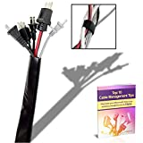 Melca Cable Management Cord Organizer - 6 Foot Long Velcro Sleeve Covers Wire Behind Mount TV, Desk, Computer, PC, or Entertainment System on Wall / Floor. Hider Concealer Cover Wrap