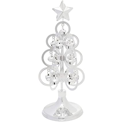 shallylu metal christmas tree ornament tabletop christmas tree decorations display with silver jingle bell ornaments - Metal Christmas Decorations