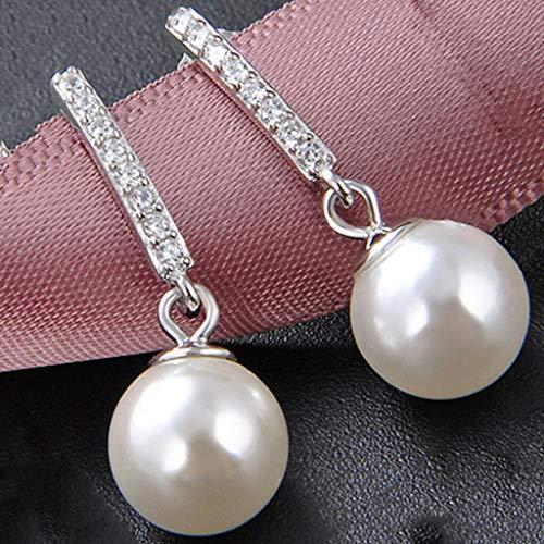S925 Sterling Silver Drop Earrings Pearl Ear Studs Synthetic Cubic Zirconia Necklace Jewelry Crafting Key Chain Bracelet Pendants Accessories Best (Bullets Silver Small Halogen)
