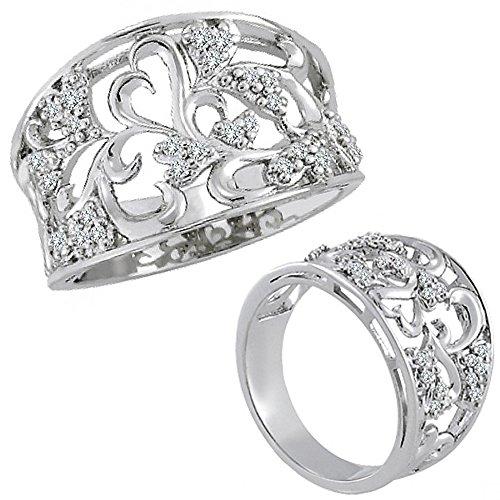 0.15 Carat G-H Diamond Lovely Classy Fancy Flower Designer Ring Band 14K White Gold