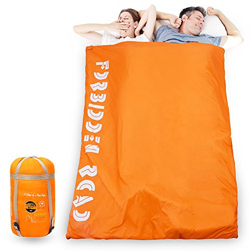 Forbidden Road Double Sleeping Bag Winter 23 ℉/60 ℉ 2 Person Waterproof Lightweight Envelope Sleeping Bags 380T Nylon with Free Carrying Bag Perfect for Spring Summer Fall Camping Backpacking Hiki