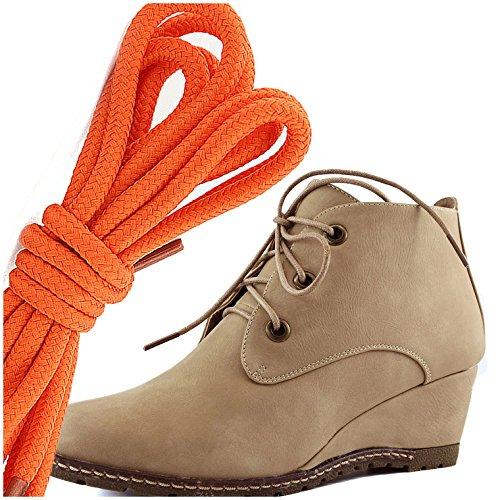 Dailyshoes Moda Donna Allacciatura Punta Rotonda Stivaletto Zeppa Alta Oxford, Beige Arancione Pu
