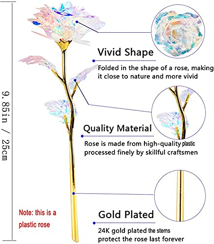 Beferr 24k Gold Plated Plastic Galaxy Rose Artificial Forever Rose Flower, Infinity Rose Gift for Her Girlfriend Wife Mum Women on Valentine's Day Mother's Day Anniversary Birthday Christmas