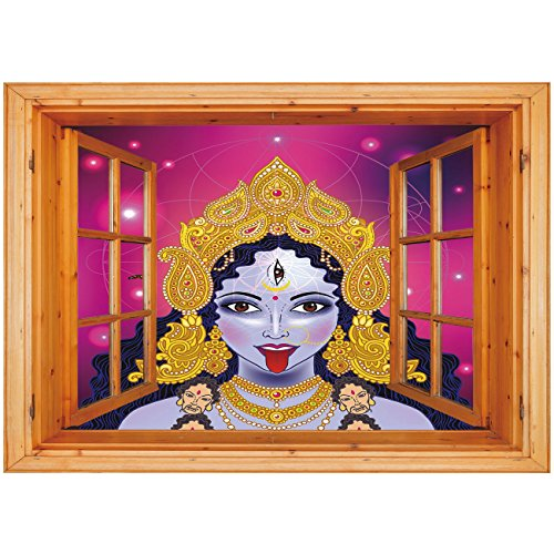 3D Depth Illusion Vinyl Wall Decal Sticker [ Ethnic,Ethnic Spiritual Sacred Holy Design Figure Portrait Religion Vitality Ceremonial Decorative,Multicolor ] Window Frame Style Home Decor Art Removable