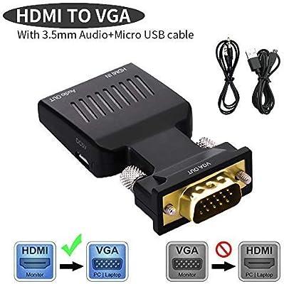 Lemorele Adaptador HDMI a VGA Conversor HDMI Macho a VGA Macho ...