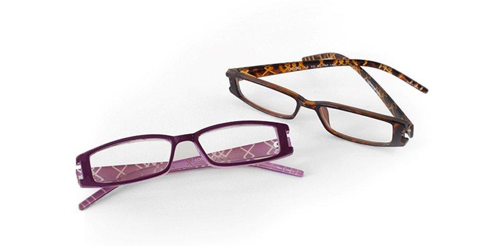 9960d0c57d5 London Fog Designer Reading Glasses for Men   Women 2 PK Readers- 1.50  Strength (Tortoise Purple)  Home  Amazon.com.au