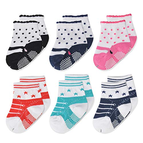 Epeius Baby Girls Non-Slip Socks Like Shoes Infant Girls Anti Slip Booties for 9-18 Months (Set of ()