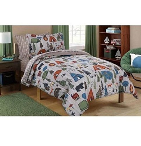Mainstays Kid's Camping Design Bedding Set in a Bag TWIN - Warehouse Online Camping