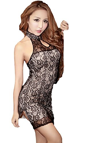 SPJ: China Dress Type Body Conscious Costume Satin Lace Sexy Elegant Cosplay (L, Black)