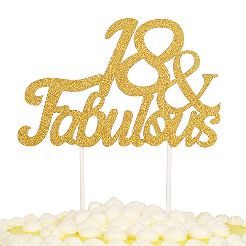 PALASASA Gold Glitter 18 & Fabulous Cake Topper, Wedding, Birthday, Anniversary, Party Cupcake Topper Decoration