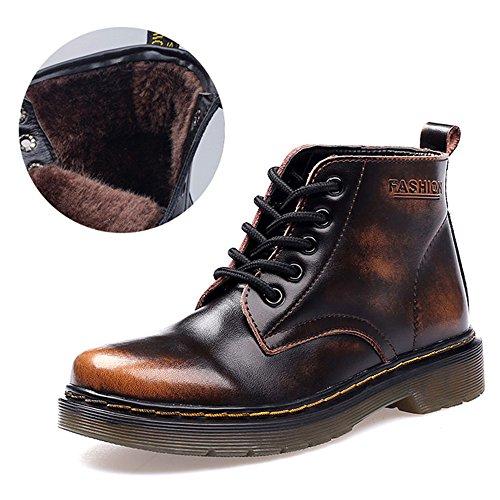 SITAILE Unisex-Erwachsene Bootsschuhe Derby Schnürhalbschuhe Kurzschaft Stiefel Winter Boots für Herren Damen Gefüttert-Braun