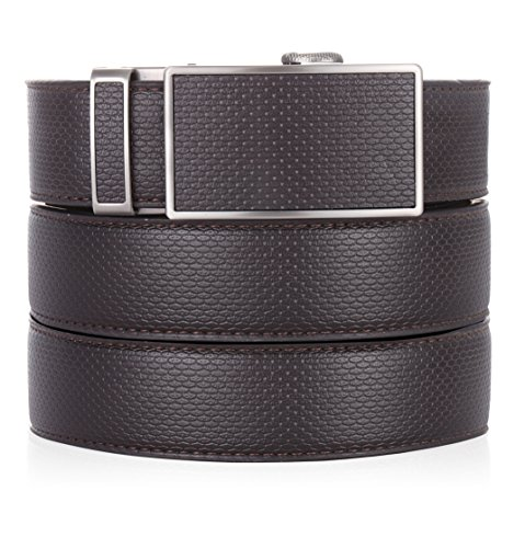 Marino Ratchet Leather Dress Belt For Men - Adjustable Click Belt with Automatic Sliding Buckle
