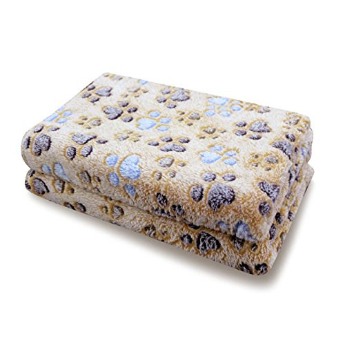 Pet Soft Pet Dog Blanket Super Absobent Fleece Fabri, Cute Bone Pattern, Brown,2 Sizes (M)