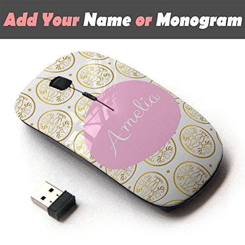 Personalized Custom Monogram Name Optical 2.4G Wireless Mouse - Golden Floral Mirror