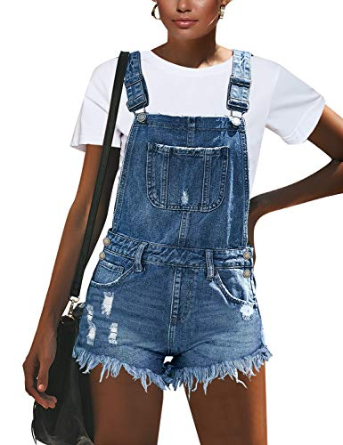 (GRAPENT Women's Light Blue Ripped Adjustable Strap Distressed Bib Denim Short Jeans Overalls Size Small US 4-6 )