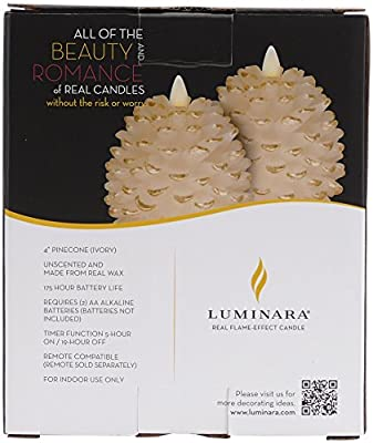 "Luminara Pine Cone Candles: 3.5"" x 4"" Unscented, Battery Operated, Luminara Flameless Candles with Timer"