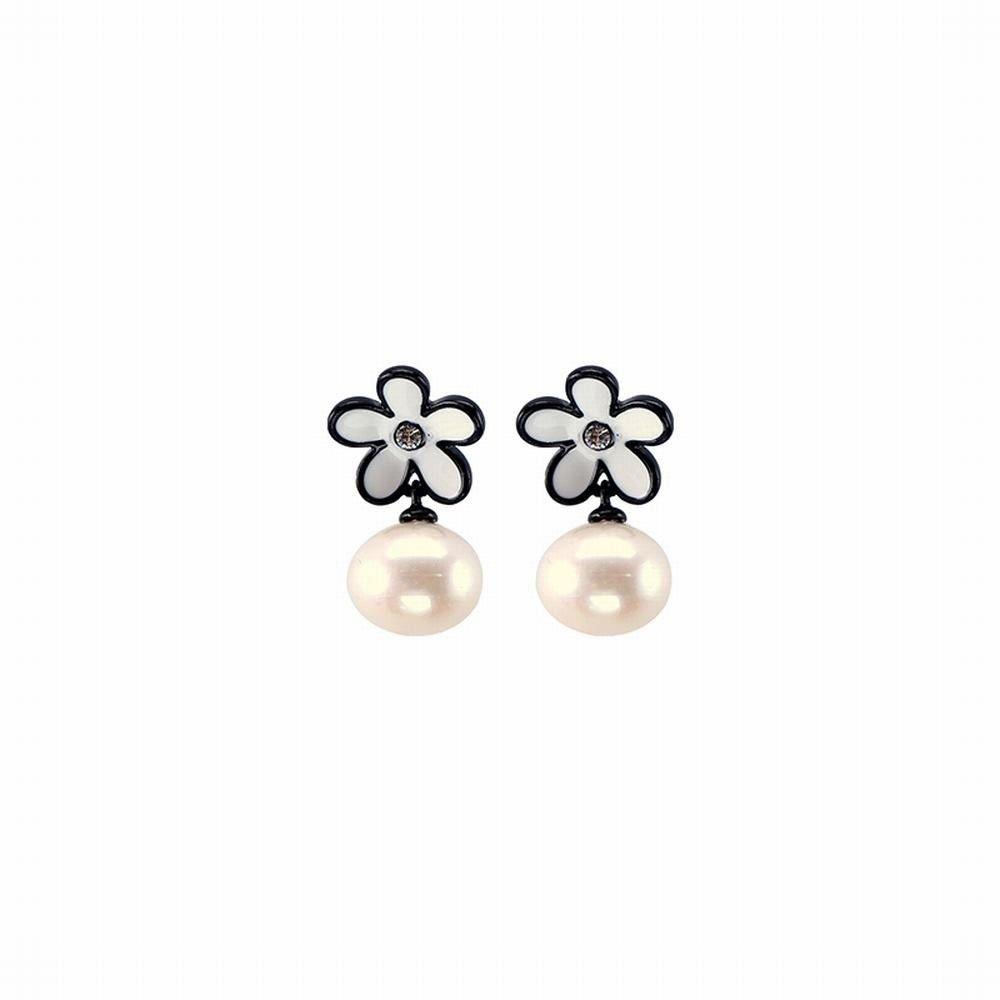Ling Studs Earrings Hypoallergenic Cartilage Ear Piercing Simple Fashion Earrings Ear Jewelry Earrings Short Paragraph Petals Imitation Pearl Simple White