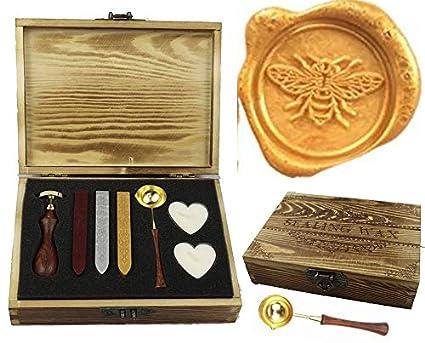 Amazon Com Mnyr Vintage Bee Elegant Wooden Box Wax Seal Sealing