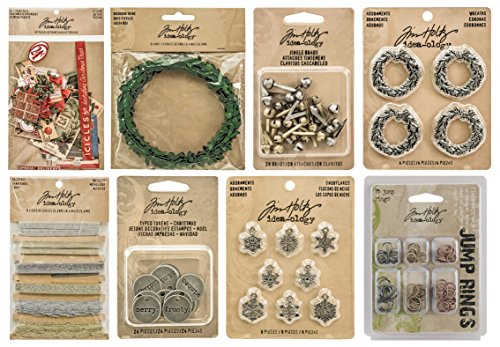 Tim Holtz Idea-ology Holiday 2015 - Christmas Ephemera, Wreaths, Snowflake Adornments, Jingle Brads, Boxwood Twine, Typed Tokens & Trimmings (Tim Holtz Jump Rings)