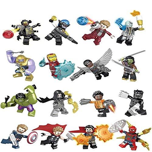 (Hero Blocks Avenger Infinity War Minifigures Set 16 pc including Thanos, Hulk, Thor, Iron Man, Spiderman, Hulk, Captain America and More)