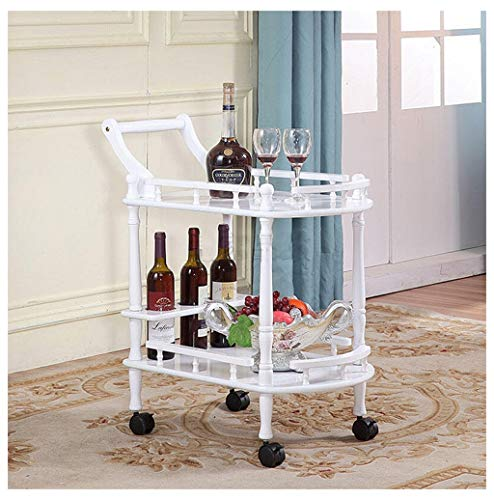 Ho,ney - Trolley Storage Shelf Trolley Rack Shelf Trolley Storage Scroll Cart- Solid Wood Dining Car Tea Wine Cart Rack -604080 (Color : White, Design : Brake Plastic Wheel)