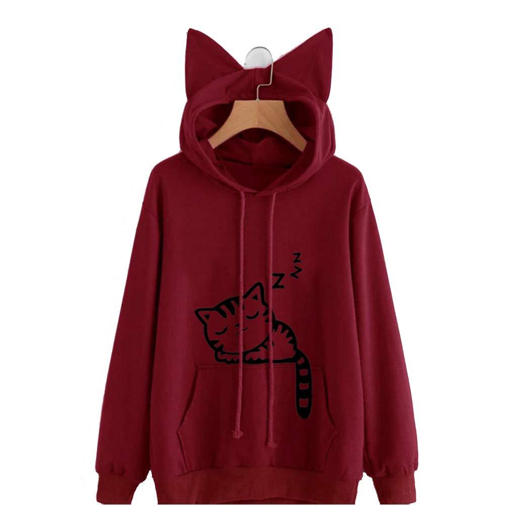 Meihuida Cute Cat Sweatshirt Women Teen Girls Cat Printing Hoodie Pocket