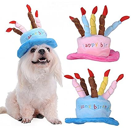Nikgic Dog Birthday Hat Cute Lovely Pet Happy Headwear For Dogs Cats Blue Amazoncouk Supplies