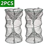 ieasky Fishing Bait Trap,2 PCS Crab Trap Crawfish Trap Lobster Shrimp Collapsible Cast Net Fishing Nets Portable Folded Fishing Accessories